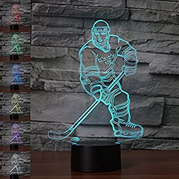 Amazon Com 3d Abstract Ice Hockey Athlete Night Light 7 Color Change Led Table Desk Lamp