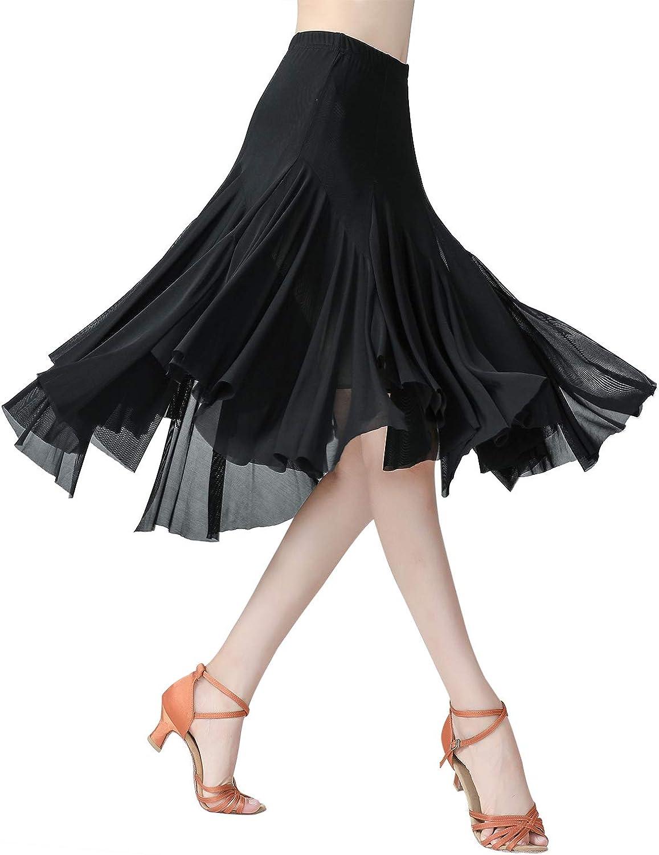 Z/&X Womens Ballroom Latin Tango Salsa Dance Skirt Fringe Split Leg Dance Dress with Shorts