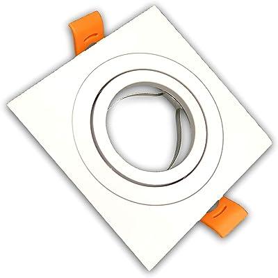 Pack 2x Aro Cuadrado para Foco Empotrable Aluminio. Aro Downlight. Soporte para GU10.