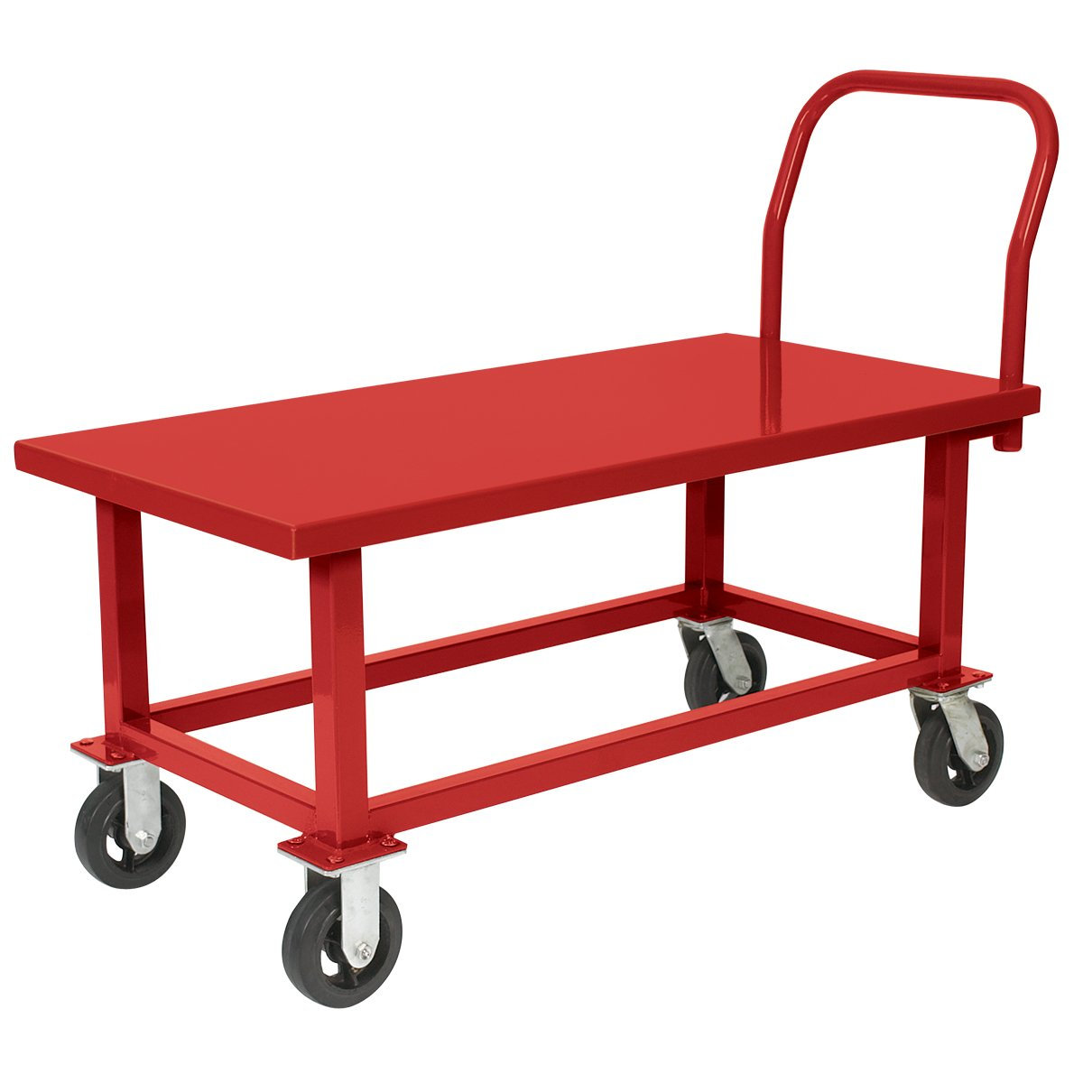 Akro-Mils RWHS30601A5M8 Rubber Steel HD Work Height Platform Truck, 30'' x 60'', Red