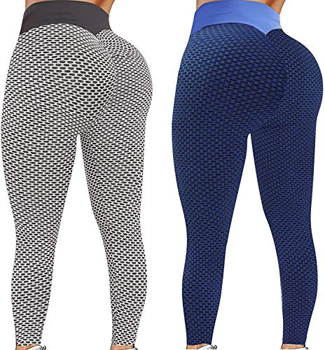 Ymibull 2PC Womens Stretch Yoga Leggings Fitness Running Gym Sports Active Pants Ladies Leggings(Dark Gray,M)