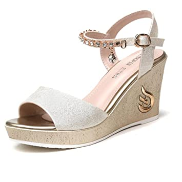b0a51e3e56d Sandals Women s Shoes PU Spring Summer Wedge Heel for Dress White Black  3.15 in (8 cm) Stylish comfortable (Color   Gold