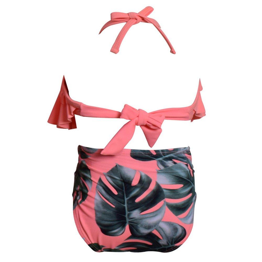 Girls Lovely Flounce Bikini 2 Piece Red Halter High Waisted Floral Swimsuit