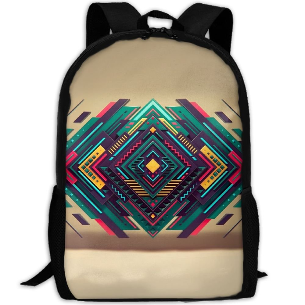 Geometry Background Colour Double Shoulder Backpacks For Adults Traveling Bags Full Print Fashion