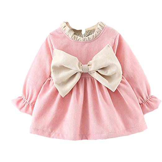 c934f31dc1a Amazon.com  (6M-24M) Newborn Kids Winter Baby Girl Long Sleeve Print Bow  Tie Princess Warm Dress Outfits Clothes Set  Clothing