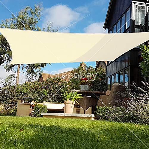 Greenbay Sun Shade Sail Outdoor Garden Patio Party Sunscreen Awning Canopy  98% UV Block Square Cream With Free Rope(2x2m)