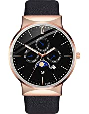 Ausexy Mens Quartz Wrist Watch Black Strap Two Time Zone Analog Display Men Business Dress Wristwatch