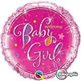 Welcome Baby Girl Stars Qualatex 18' Holographic Foil Balloon