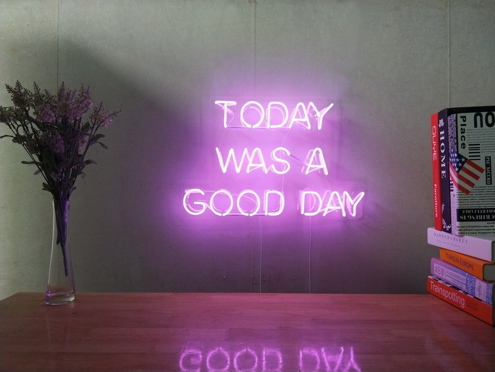 Today Was A Good Day Real Glass Neon Sign For Bedroom Garage Bar Man Cave Room Home Decor Handmade Artwork Visual Art Dimmable Wall Lighting Includes Dimmer