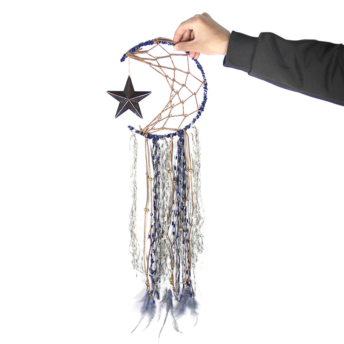 with Gift Box BetterJonny Blue Dream Catcher Handmade Half Circle Moon Design Dream Catcher Feather Hanging with Star Wall Art Hanging Home Decorations Dorm Room Ornament Craft Gift Festival Gift