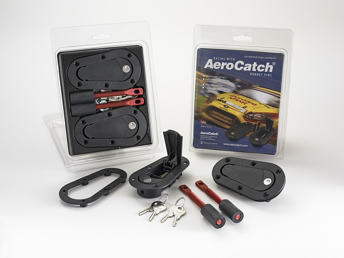 Black Now includes Molded Fixing Plates AeroCatch Plus Flush Locking Hood Latch and Pin Kit Part # 120-2100