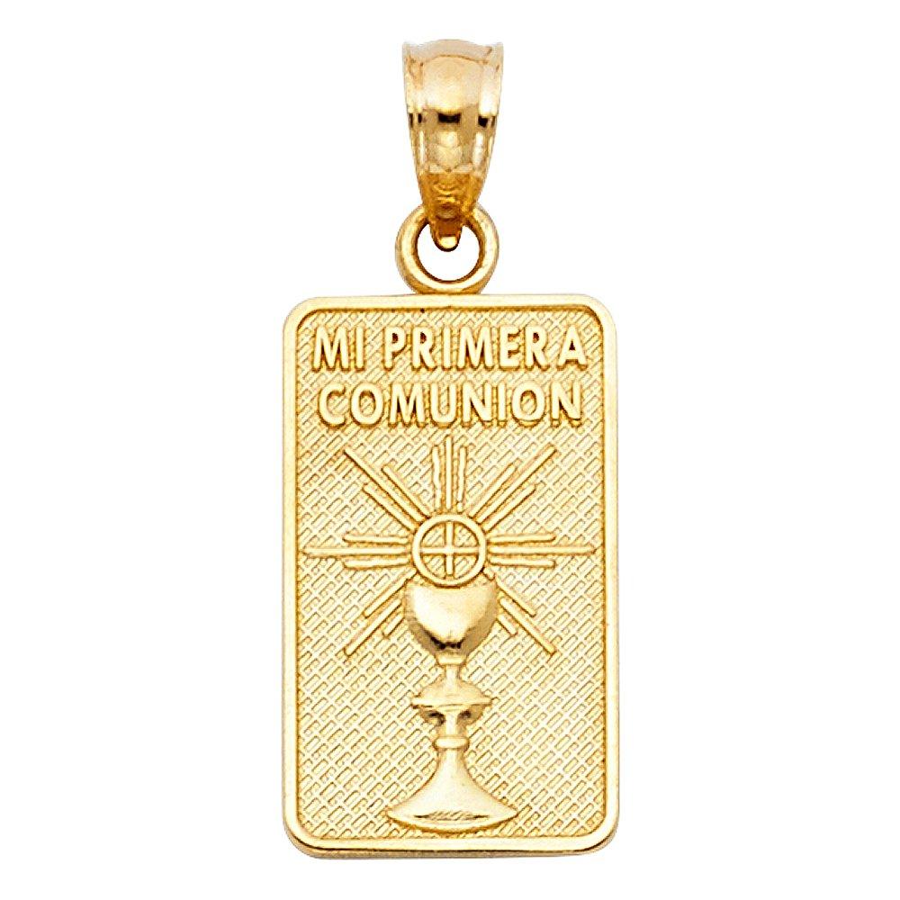 14K Yellow Gold Cross Mi Primera Comunion Charm Pendant with 1.1mm Wheat Chain Necklace