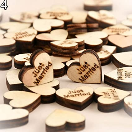 DIY 100pcs Wooden Rustic Wood Love Heart Wedding Table Scatter Decoration Crafts
