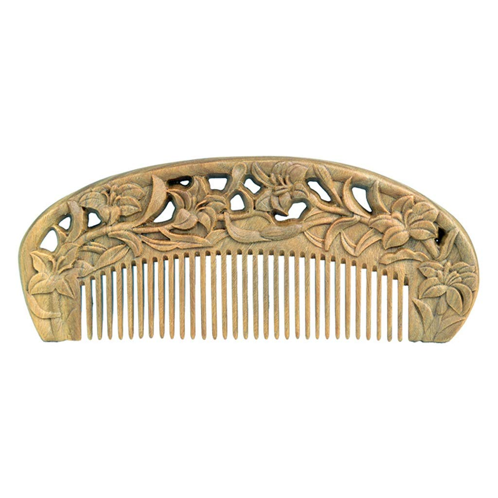 Comb Natural Carved Green Sandalwood Fine Tooth Long Send Girlfriend to Send Mother by Comb