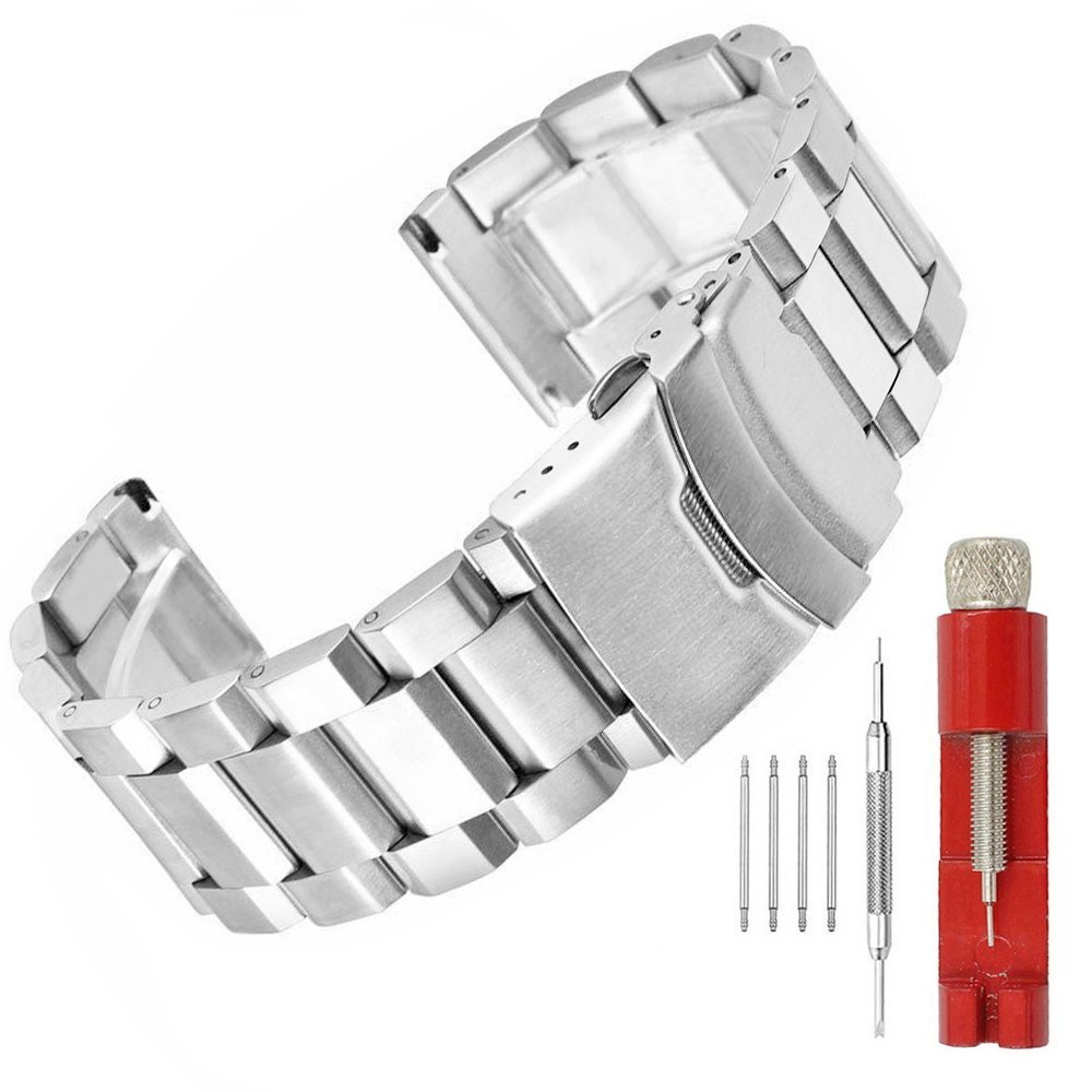 20mm Silver Brushed Wristband Solid Stainless Steel Watch Band with Deployment Lock Buckle for Men Women