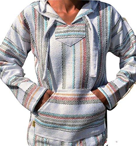 Galaxy Reborn Baja Hoodie White Fiesta Mexican Drug Rug Pullover Poncho Sweatshirt (X-Large)