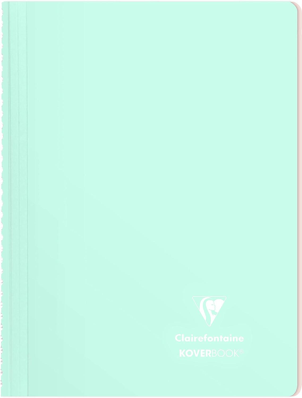 Clairefontaine 376772C un Cahier /à Spirale Koverbook Blush 160 pages d/étachables 21x29 7 cm 90g lign/ées couverture polypro Enveloppante Opaque Bleu Givr/é//Corail