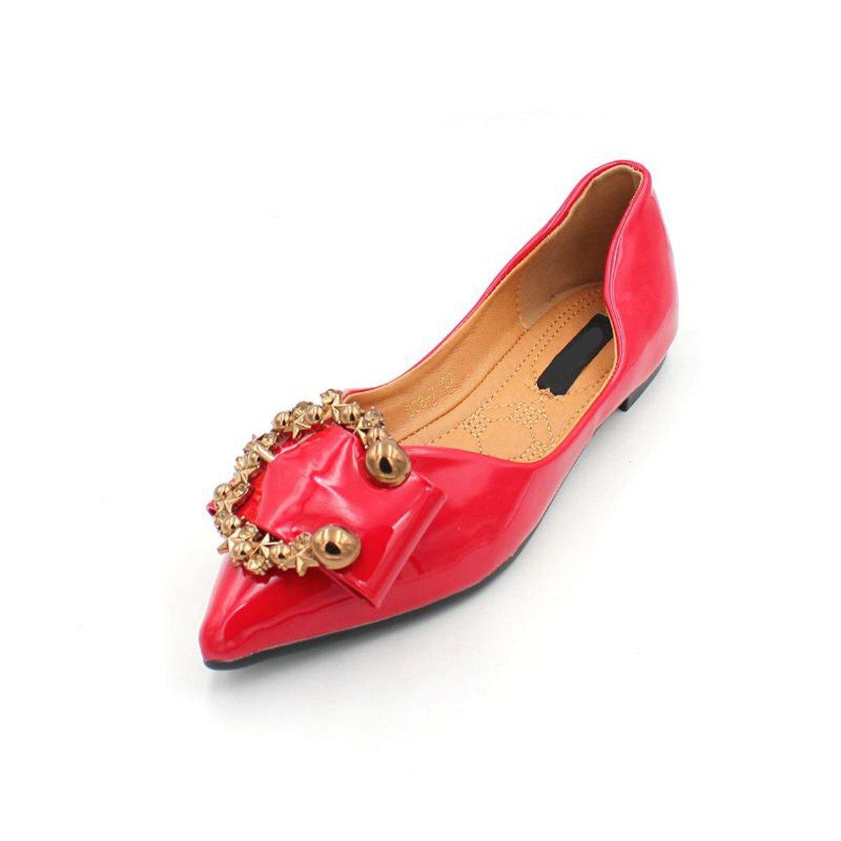 KPHY Damenschuhe/ROT Sommer Rote Schuhe Leder Schuhe Wasser Läuft Flache Scharfe Schwangere Frauen Flachen Boden Damenschuhe.