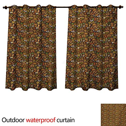 WilliamsDecor German Outdoor Curtain for Patio Cartoon Style Cute Deutschland Pattern with Flag Hops and Pretzels Hand Drawn Doodle W108 x L72(274cm x -