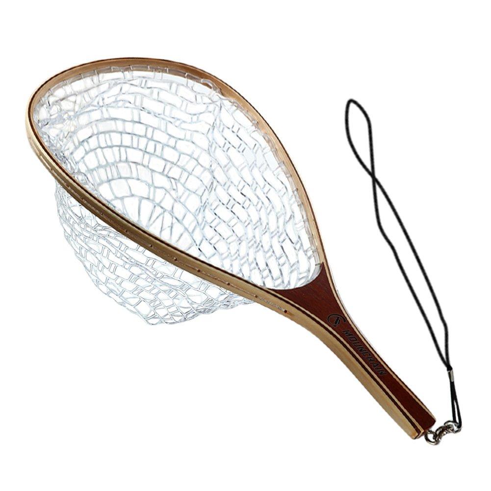 Mounchain Fly Fishing Landing Net fot Trout Bass Soft Rubber Mesh Catch and Release Fish Net
