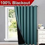 NICETOWN 100% Blackout Patio Sliding Door Curtain, Wide Lined Drape, Keep