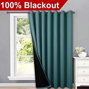NICETOWN 100% Blackout Patio Sliding Door Curtain, Wide Lined Drape, Keep Warm Drapery, Sliding Glass Door Panel for Night Shift(Bright Sea Teal, 1 Panel, 100 inches Wide x 84 inches Long