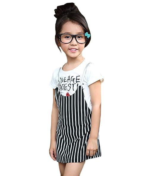 e5bf14c6ee10a コーヒー牛乳の店舗(JP)サスペンダー スカート ガールズ Tシャツ+つりスカート 2
