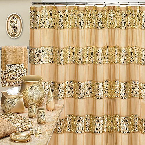 Popular Bath Sinatra Champagne and Gold 8 Piece Shower Curtain and Resin Wastebasket Set