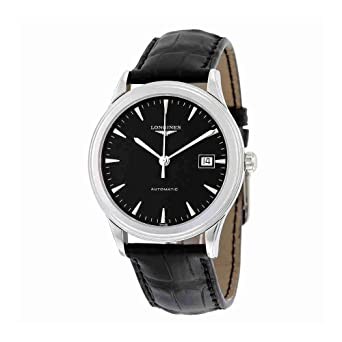 b93b0e0eaaf63 Image Unavailable. Image not available for. Color  Longines Flagship  Automatic Black Dial Black Leather Mens Watch L48744522