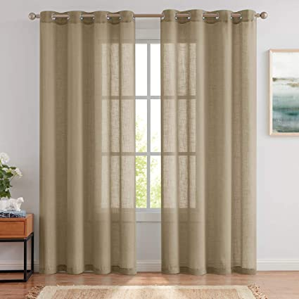 Best Dreamcity Sheer Curtains 84 Inch For Living Room Bedroom Linen Textured Semi Sheer Grommet Voile Drapes Window Treatment Set Crosshatch Textured Curtain Panels Taupe Tan 2 Panels Amazon Co Uk Kitchen Home