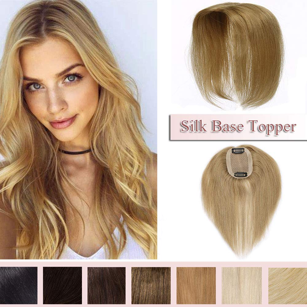 100% Real Human Hair Silk Base Top Hairpiece Clip in Hair Topper for Women Crown in Hand-made Toppee Middle Part with Thinning Hair Loss Hair #27 Dark Blonde 12''20g by Rich Choices