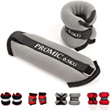 PROMIC Ankle Weights 0.5kg 1kg 1.5kg 2kg Adjustable Velcro Strap Leg Exercise Gym Resistance Training Wrist Weights for Both Women and Men,Set of 2,Red,Black,Grey Color