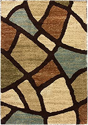 Placid Path Shag Thick Soft Plush Modern Contemporary Geometric Flokati Abstract Nature Floral Boxes And Lines Color Block Pattern Green Multi Color Living Dining Great Room Area Rug