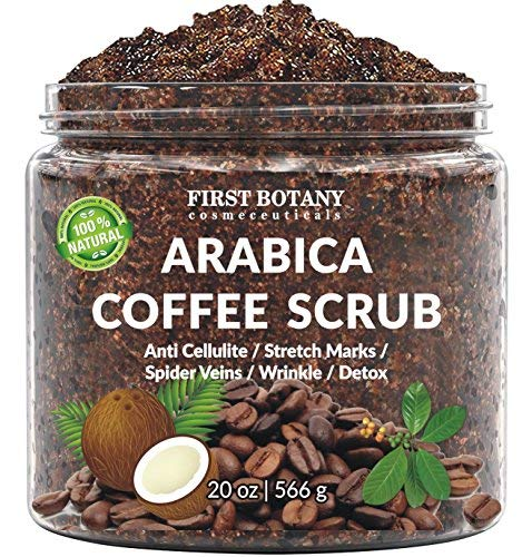 100% Natural Arabica Coffee Scrub with Organic Coffee, Coconut and Shea Butter - Best Acne, Anti Cellulite and Stretch Mark treatment, Spider Vein Therapy for Varicose Veins & Eczema (20 oz) by First Botany Cosmeceuticals