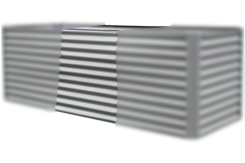 OUTFLEXX Hochbeet-Verlängerung aus Zinkalume in Silber, ca. 80x90x84 cm, Erweiterung und Anbau für Frühbeete, Hügelbeete und Gartenbeete, tolles Zubehör, inkl. Montagematerial