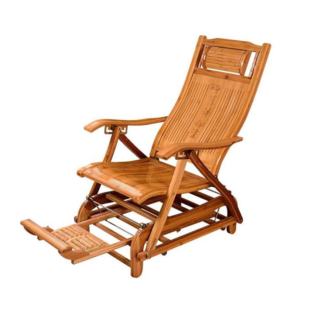 Amazon.com: Silla reclinable plegable de bambú, respaldo de ...