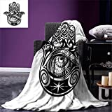 Hamsa Digital Printing Blanket Arabian Art in Black and White Eastern Icon Crescent Moon and Star All Seeing Eye Summer Quilt Comforter Black White