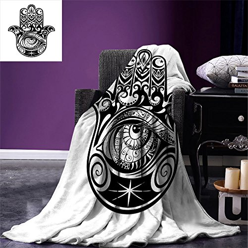 Hamsa Digital Printing Blanket Arabian Art in Black and White Eastern Icon Crescent Moon and Star All Seeing Eye Summer Quilt Comforter Black White by smallbeefly
