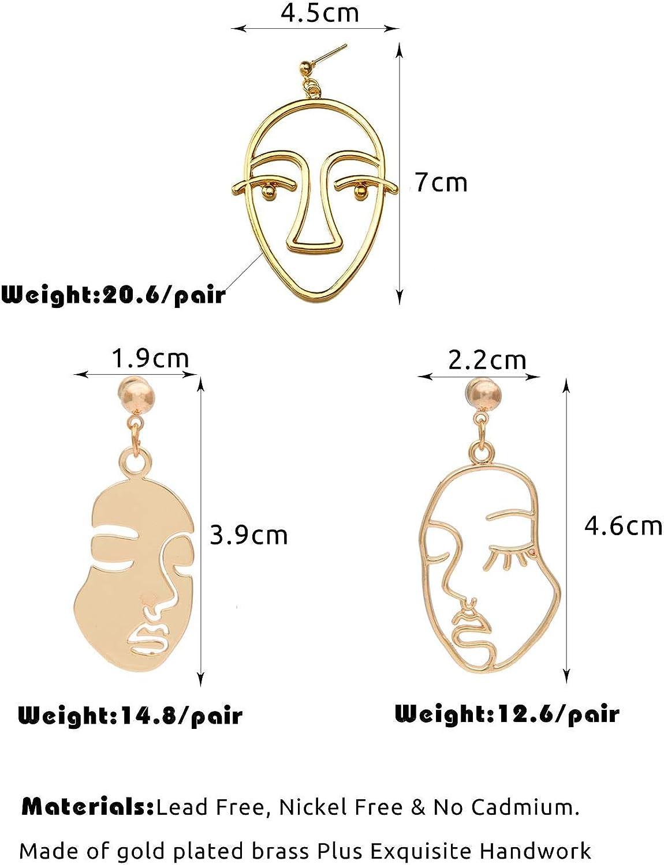 3 Pair Gold Tone Hypoallergenic Dangle Stud Earrings para ni/ñas Adolescentes Mujeres Pendientes Pendientes faciales Set Abstract
