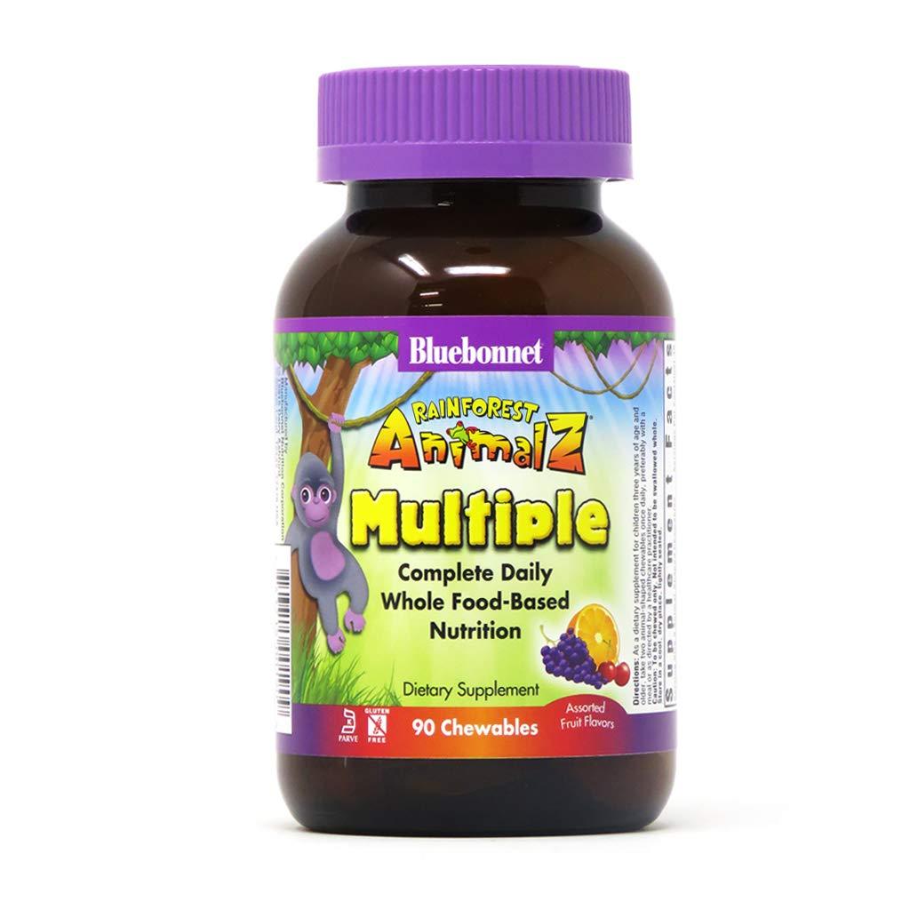Bluebonnet Nutrition Rainforest Animalz Whole Food Based Multiple Chewable Tablets, Kids Multivitamin & Mineral, Vitamin C, D3, Iron, Gluten Free, Milk Free, Kosher, 90 Chewable Tablets, Mixed Flavors