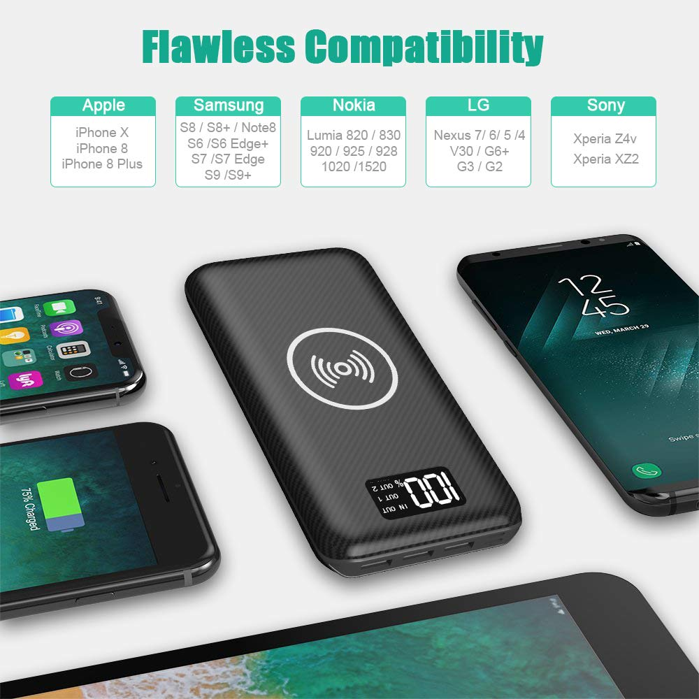 Portable Charger Power Bank 24000mAh 3 Outputs /& Dual Inputs External Battery Pack Compatible Cellphone,Android Phones,Tablet and More. Wireless Charger with LED Digital Display