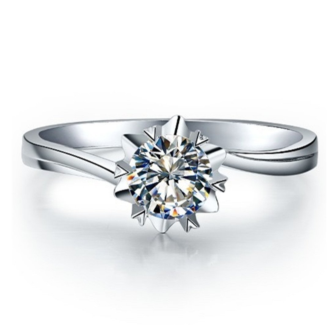 1CT Snowflake Solitaire Engagement Ring NSCD Simulated Diamond Ring for Women 925 Silver