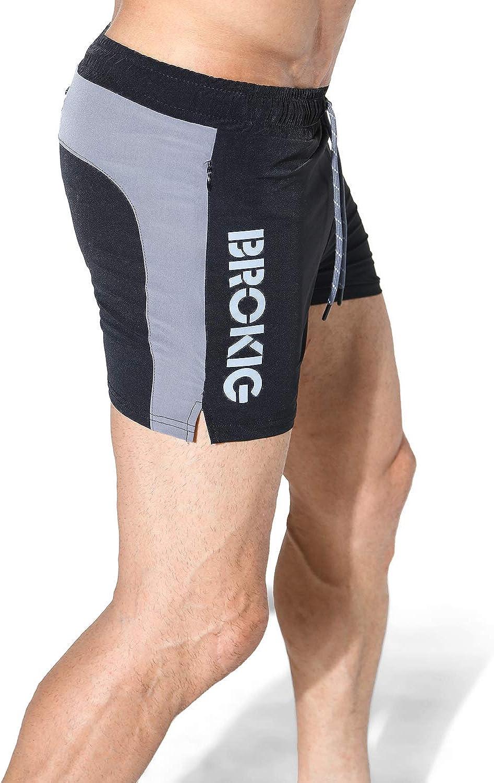 BROKIG Mens 5 Gym Shorts Bodybuilding Workout Short with Zipper Pocket