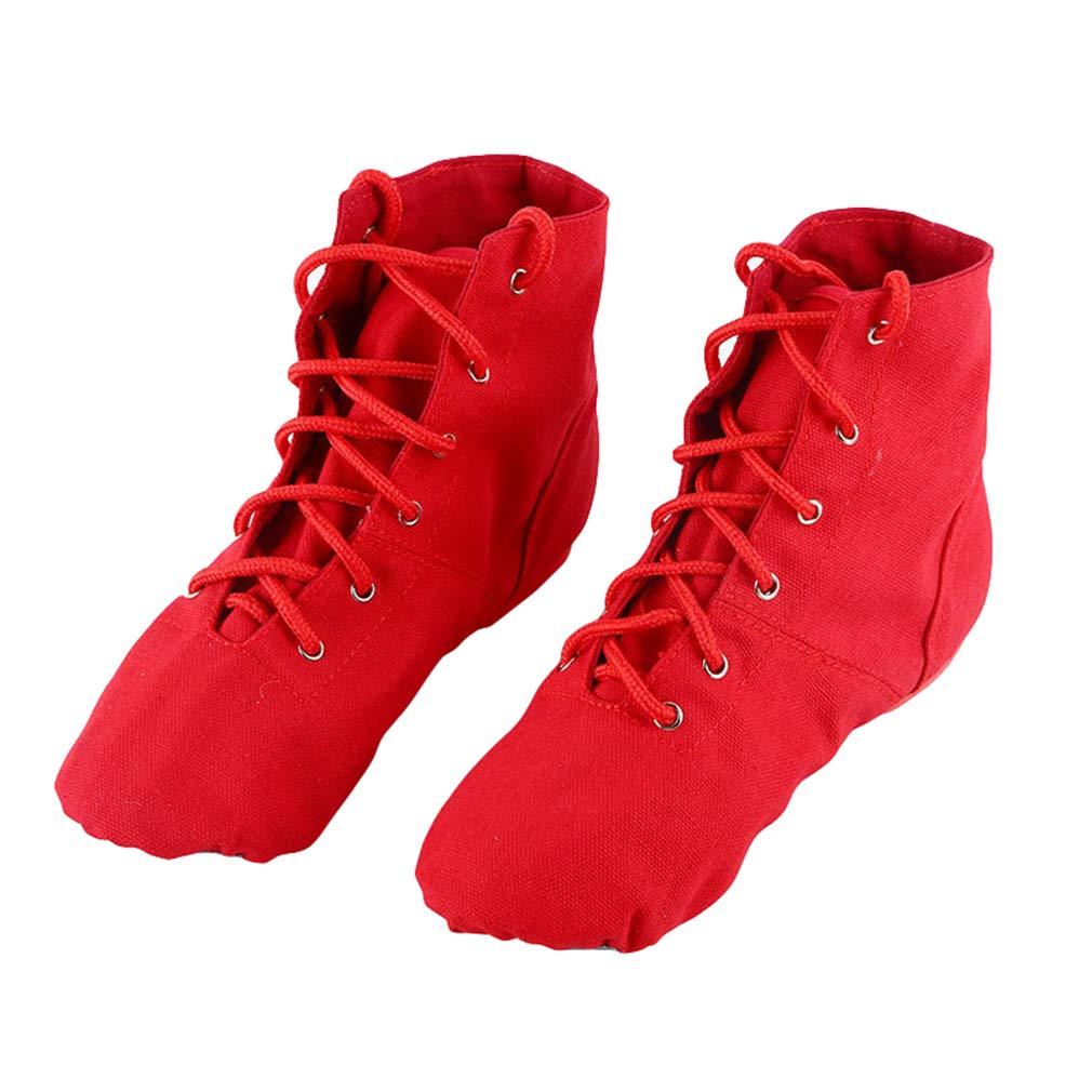Nouvelles Chaussures Danse Femme Ballet Enfants Chaussures Danse Jazz Chaussures Lacets Couleurs Unies Tailles 26-45 Noir Blanc Rouge