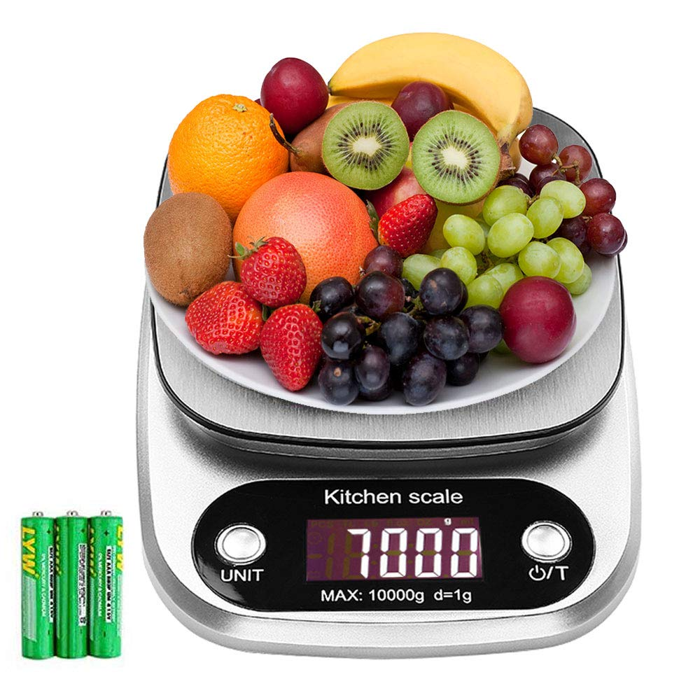 Digital Kitchen Cooking Scale 22lb/10kg Stainless Steel Electric Cooking Scales with Slim Design and Backlit LCD Food Weighing Scales for Home&Kitchen Batteries Included Green Joy