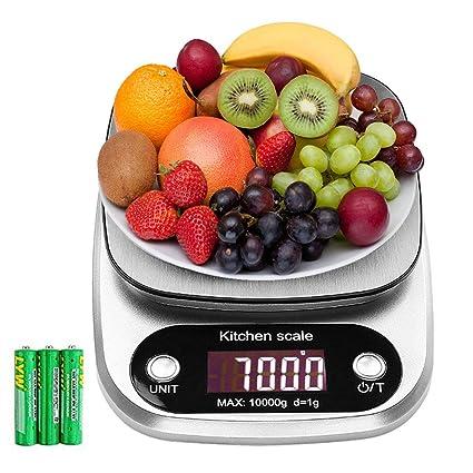 himaly Báscula de Cocina Digital Básculas Digitales Cocina de Acero Inoxidable Balanza de Alimentos Multifuncional de