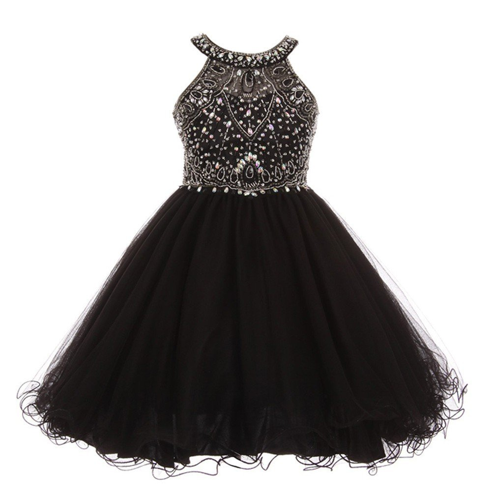 df8a9e021 Amazon.com: Cinderella Couture Big Girls Black Rhinestone Halter Neck  Dazzling Junior Bridesmaid Dress 8-16: Clothing