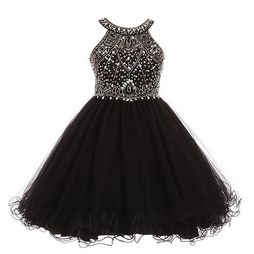 795cf55f9 Cinderella Couture Big Girls Black Rhinestone Halter Neck Dazzling Junior  Bridesmaid Dress 8