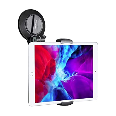"AboveTEK Suction Cup Cell Phone Holder, Large Sticky Pad Tablet Mount on Kitchen Desk Office Window Bathroom Mirror Car Truck Windshield, for Phone Tablet Stand 4-11"" iPhone 5 6 7 iPad Mini Air Pro"