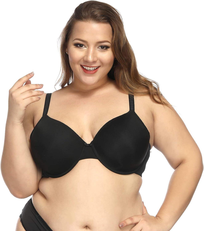Women Plus Size Full Coverage Underwire Seamless Thin Pad Push Up Bra